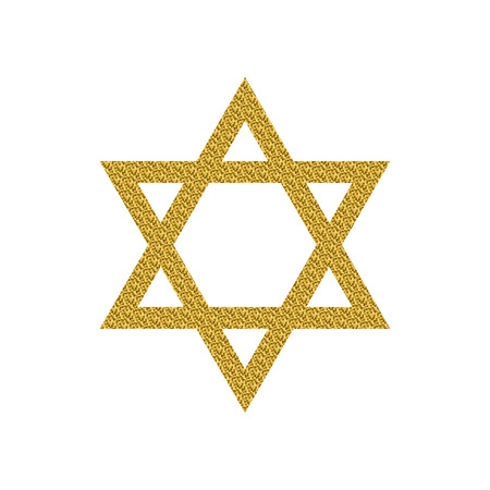 zion: Vector illustration of Magen David with golden glitter. Star of David isolated on a white background