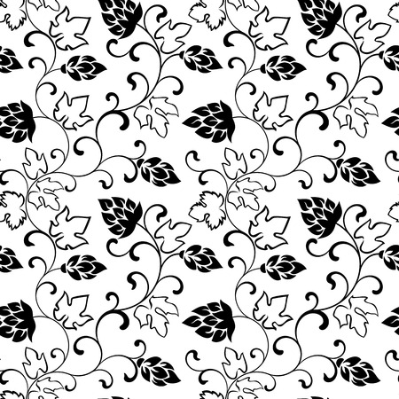hop cones: Seamless pattern. Branches with hop cones on a white background