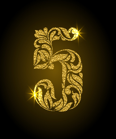 5. Decorative Font with swirls and floral elements. Ornate decorated digit five with golden glitter