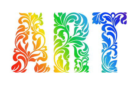 varicoloured: Multicolor painted word ART. Decorative Font with swirls and floral elements. Illustration