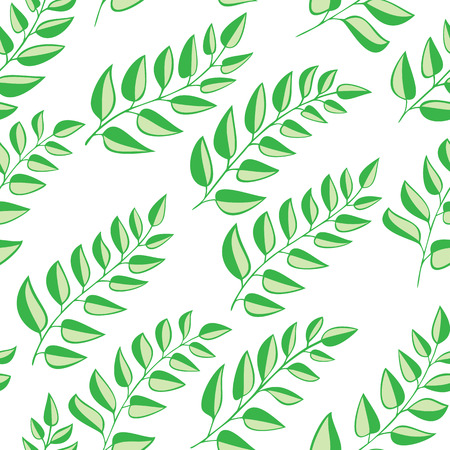 garden stuff: Seamless pattern with leaves on white background Illustration