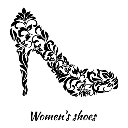 heelpiece: Womens shoe from a floral ornament a white background Illustration