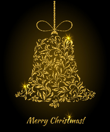 The Christmas bell with gold glitter from a floral ornament Illustration