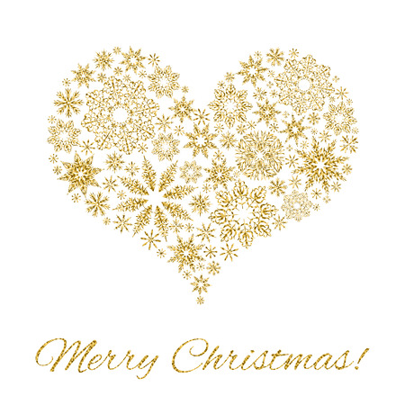 christmas postcard: Elegant Christmas postcard: Heart from snowflakes  with gold glitter