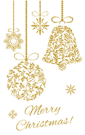 Elegant Christmas postcard: Christmas decoration with gold glitter on a white background Çizim