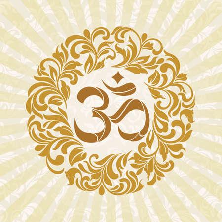 abstract symbolism: Om symbol Yoga or Pranava of floral wreaths - frame Illustration