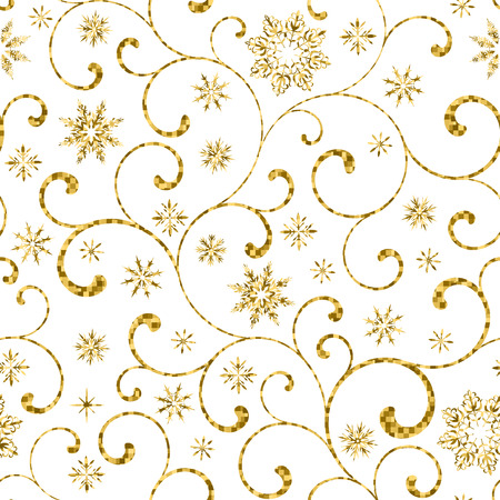 gold swirl: luxury seamless pattern with gold swirl and snowflakes on a white background Illustration