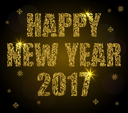 Greeting Card Or Banner Happy New Year 2017 Text Made Of Floral