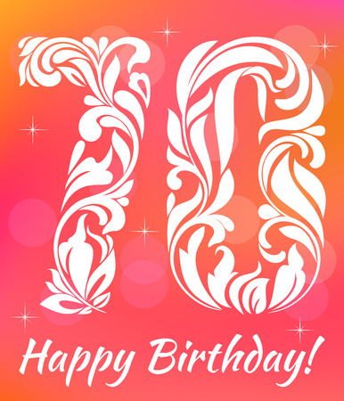 70 years: Bright Greeting card Template. Celebrating 70 years birthday. Decorative Font with swirls and floral elements.