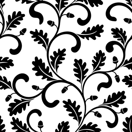 branches with leaves: Seamless pattern. Twisted branches with oak leaves isolated on a white background