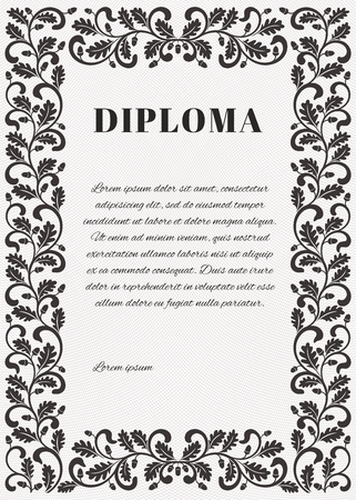 tangier: Template for diploma with Guilloche background grid and ornate frame. Frame decorated twisted branches with oak leaves and acorns.