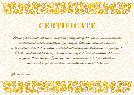 Template for Certificate with vegetal background and ornate frame. Frame decorated twisted branches with oak leaves and acorns.