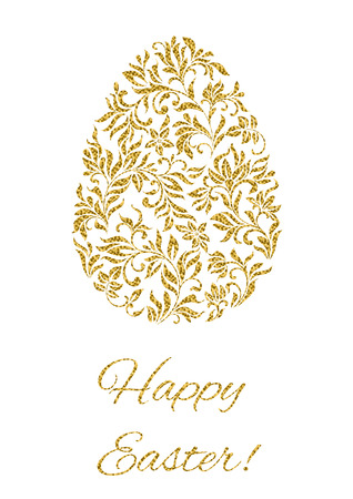 golden egg: Luxury greeting postcard for Easter. Egg from floral ornament on a white background.