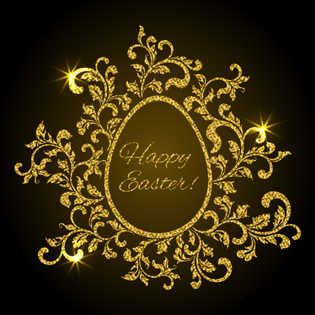 Luxury greeting postcard for Easter. Frame in the shape of an egg made of floral elements on a black background.