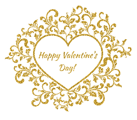 amor: Happy Valentines day text inside a heart shaped frame with a flower pattern Illustration