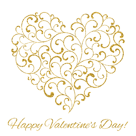 Happy Valentines day! Heart created of tracery with gold glitter on a white background Illustration