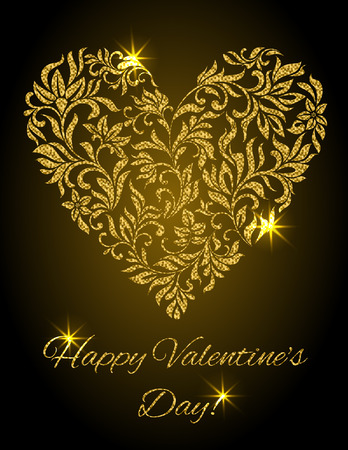 Happy Valentines day! Heart created of flowers with gold glitter on a black background