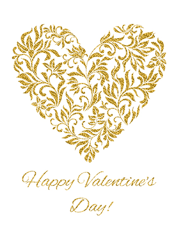 elegant white: Happy Valentines day card! Heart created of flowers with gold glitter Illustration