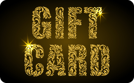 privilege: GIFT CARD. The inscription created from a floral ornament. Letters with gold glitter and sparks on a black background.