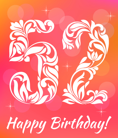 Bright Greeting card Template. Celebrating 52 years birthday. Decorative Font with swirls and floral elements. Stock Vector - 71709957