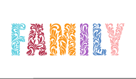 Decorative Font  of the Word FAMILY with swirls and floral elements. Illustration