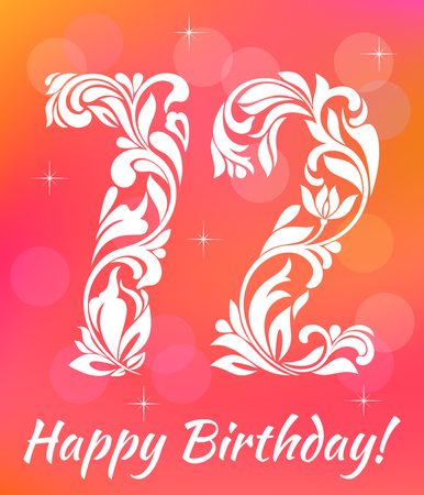 seventy two: Bright Greeting card Template Celebrating 72 years birthday.