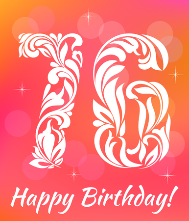 sixth birthday: Bright Greeting card Template Celebrating 76years birthday.