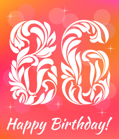 sixth birthday: Bright Greeting card Template Celebrating 86 years birthday.
