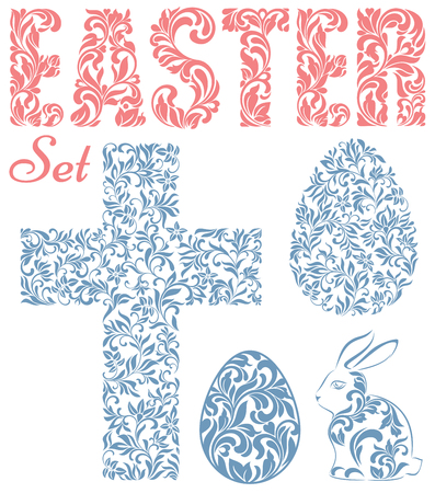 Easter set. Word EASTER, Easter eggs, rabbit and cross  made of swirls and floral elements isolated on a white background