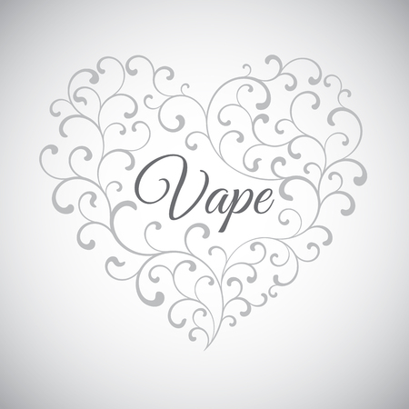 eliquid: Heart of smoke curls. In the center of the inscription is Vape
