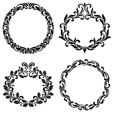 Set of vintage frames of swirls and decorative leaves isolated on a white background.