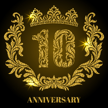 tenth: Anniversary of 10 years. Digits, frame and crown made in swirls and floral elements with gold glitter and sparkle Illustration