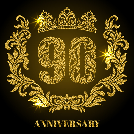 90th: Anniversary of 90 years. Digits, frame and crown made in swirls and floral elements with gold glitter and sparkle
