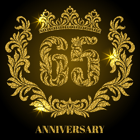Anniversary of 65 years. Digits, frame and crown made in swirls and floral elements with gold glitter and sparkle