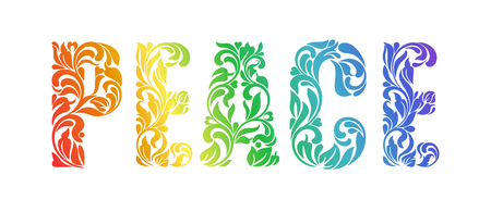 PEACE. Decorative Font made in swirls and floral elements isolated on a white background.