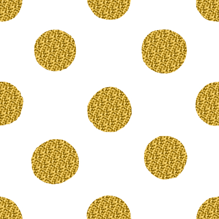 Seamless pattern with golden glitter circles isolated on a white background. Illustration