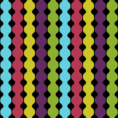Vector seamless pattern. Abstract  geometric background of colored bands on a black background. It can be used for printing on fabric, wrapping