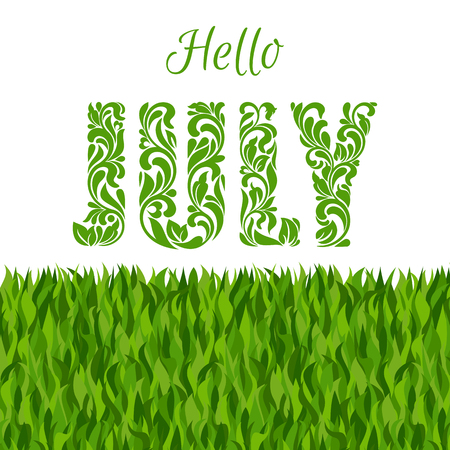 the furlough: Hello JULY. Decorative Font made in swirls and floral elements isolated on a white background with grass.