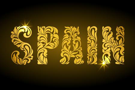 celebrities: Inscription Spain of floral decorative pattern. Golden letters with sparks on a dark background. Illustration