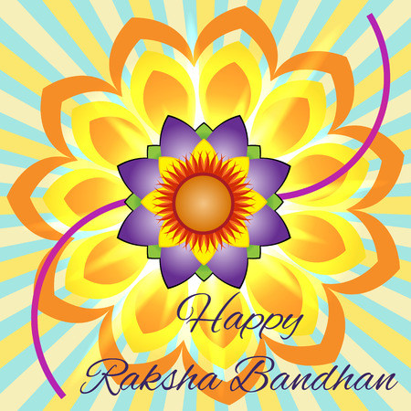 dharma: Happy Raksha Bandhan Elegant greeting card with beautiful rakhi for Indian festival of brother and sister love, celebration.