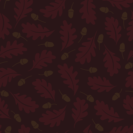 be: Seamless pattern. Oak leaves and acorns on a brown background. It can be used for printing on fabric, wallpaper and wrapping