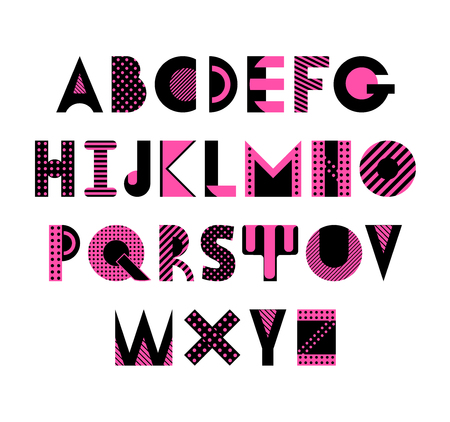 Trendy geometric font. Abstract alphabet in memphis style. Type letters 80s - 90s style. Abc isolated on a white background.