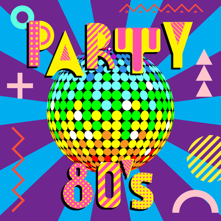 dancing club: Banner for a party in the style of the eighties. Trendy geometric font in memphis style of 80s-90s. Disco Ball with colored rays