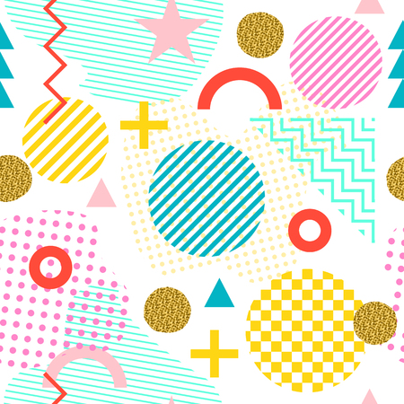 Seamless pattern in Memphis style. Abstract vector backgrounds with geometric ornaments in the style of 80-90. Colored geometric shapes isolated on a white background Illustration