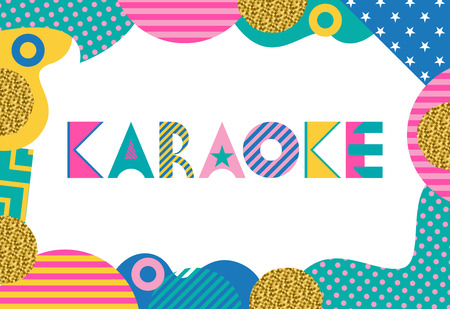 KARAOKE. Trendy geometric font in memphis style of 80s-90s. Rectangular frame from abstract geometric elements