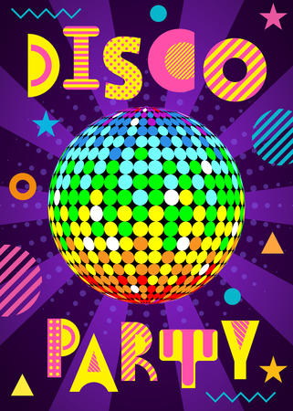 Banner for a Disco party in the retro style. Trendy geometric font in memphis style of 80s-90s. Disco Ball with rays Иллюстрация