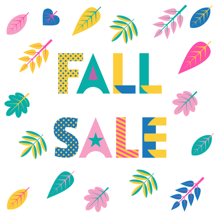 FALL SALE. Trendy geometric font in memphis style of 80s-90s. colorful autumn leaves isolated on a white background Illustration