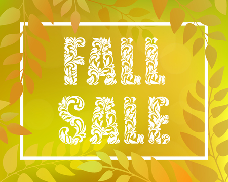 Inscription FALL SALE. Autumnal gradient backdrop with foliage and rectangular frame. Yellow horizontal blurred background with bokeh.