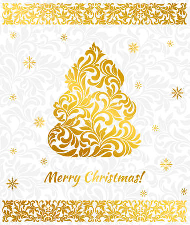 Vector elegant Greeting card with golden Christmas tree design