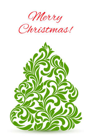 Greeting card with elegant Christmas tree from abstract flower ornament isolated on white background.